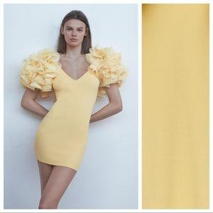 NWT Zara Yellow Contrasting Mini Knit Dress Size S